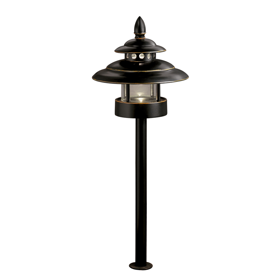 Shop allen roth bronze low voltage led path light at for Low voltage walkway lighting sets