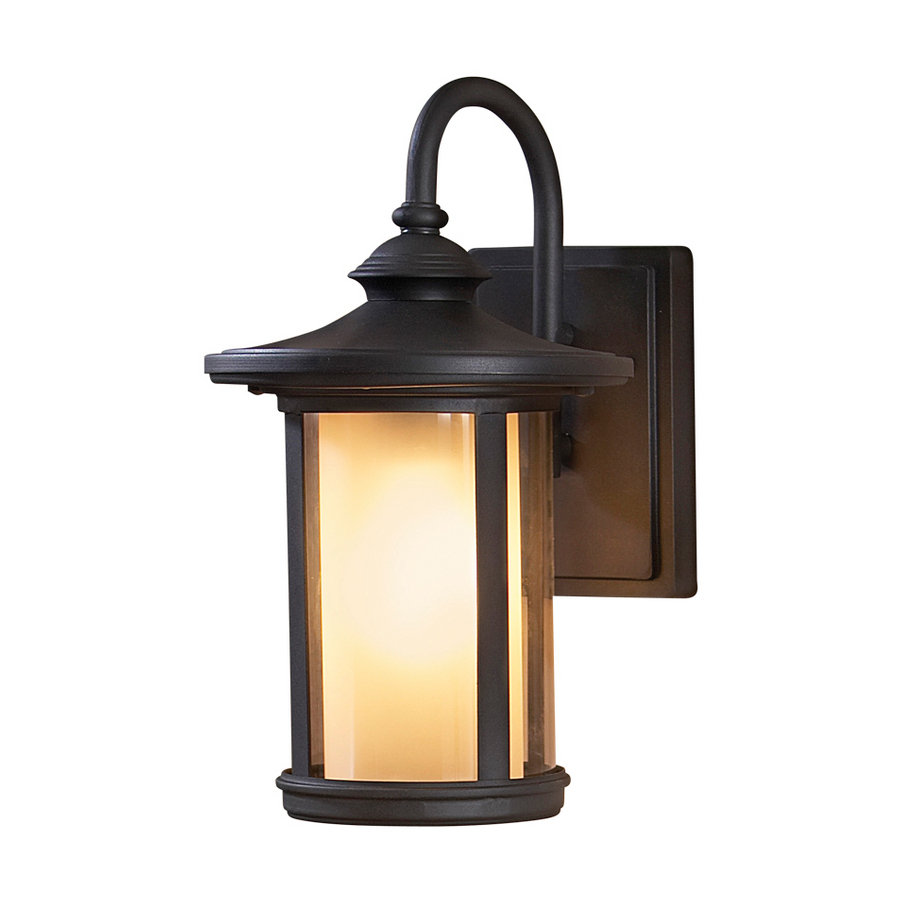 shop allen roth 13 in black outdoor wall light at. Black Bedroom Furniture Sets. Home Design Ideas