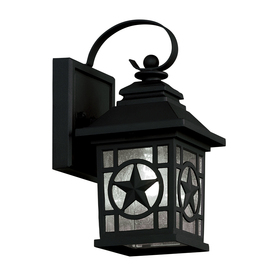 Portfolio 2-Pack 9.75-in H Black Outdoor Wall Lights