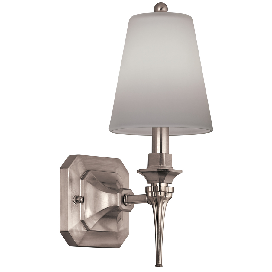 Wall Lamps From Lowes : Shop Portfolio 5-in W 1-Light Brushed Nickel Arm Wall Sconce at Lowes.com