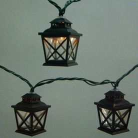 allen + roth 7.8-ft Black Mini Bulb Criss Cross Lantern String Lights
