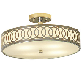 allen + roth 15.75-in W Polished Chrome Ceiling Flush Mount