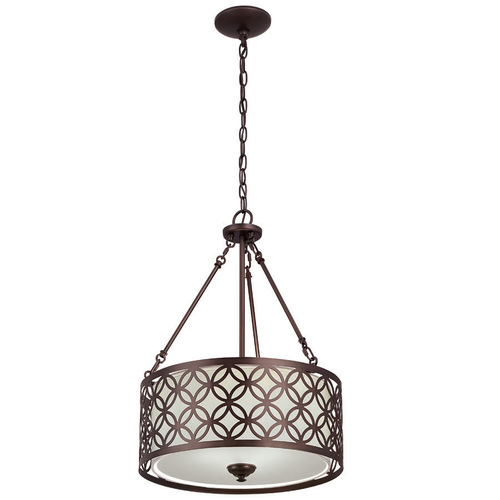 "Zoomed: Portfolio 18""W Bronze Pendant Light with Fabric Shade"