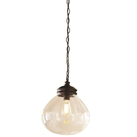 allen + roth 12-in W Edison Style Bronze Pendant Light with Clear Shade