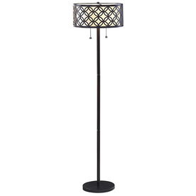 allen + roth 63-in 2-Light Oil-Rubbed Bronze Floor Lamp with Oil-Rubbed Bronze Shade