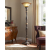 Portfolio 72-in Marble Traditional Standard Torchiere Indoor Floor Lamp with Glass Shade