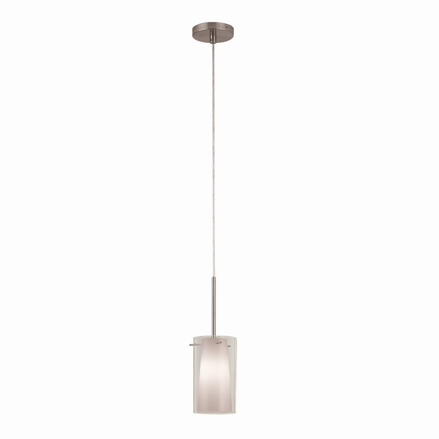 Shop Portfolio 5 In W Brushed Nickel Mini Pendant Light With White Shade At L