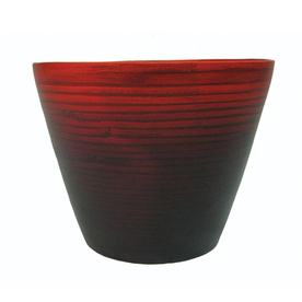 allen + roth 7.48-in H x 9.84-in W x 9.84-in D Red Planter