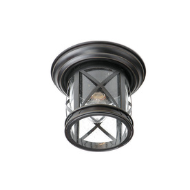 allen + roth 9.84-in W Oil-Rubbed Bronze Outdoor Flush Mount Light