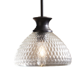 allen + roth 8.25-in W Oil-Rubbed Bronze Mini Pendant Light with Textured Shade