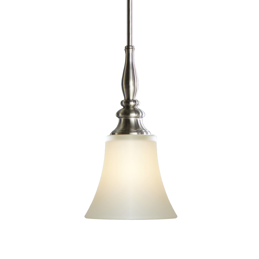 nickel mini pendant light with frosted glass shade at