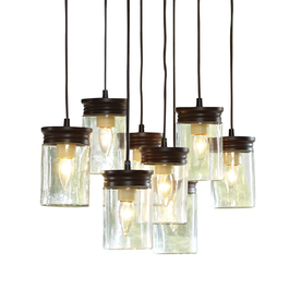 allen + roth 8-in W Oil-Rubbed Bronze Standard Pendant Light with Clear Shade