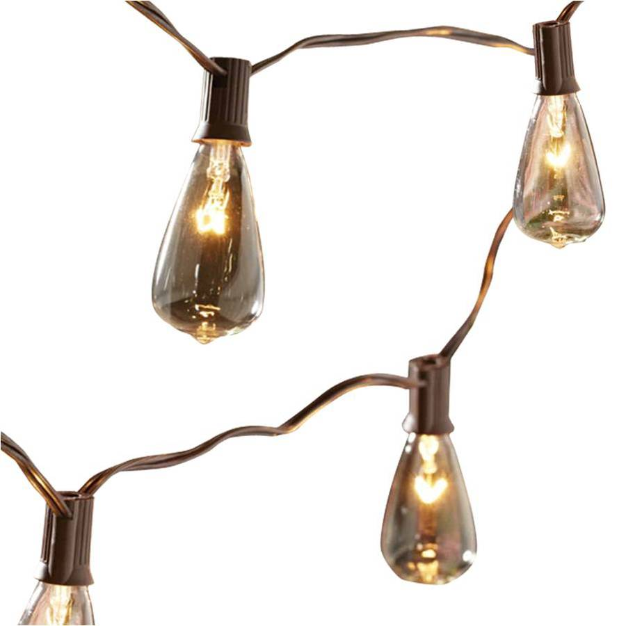 Shop allen roth 14 ft brown indoor outdoor string lights Outdoor string lighting