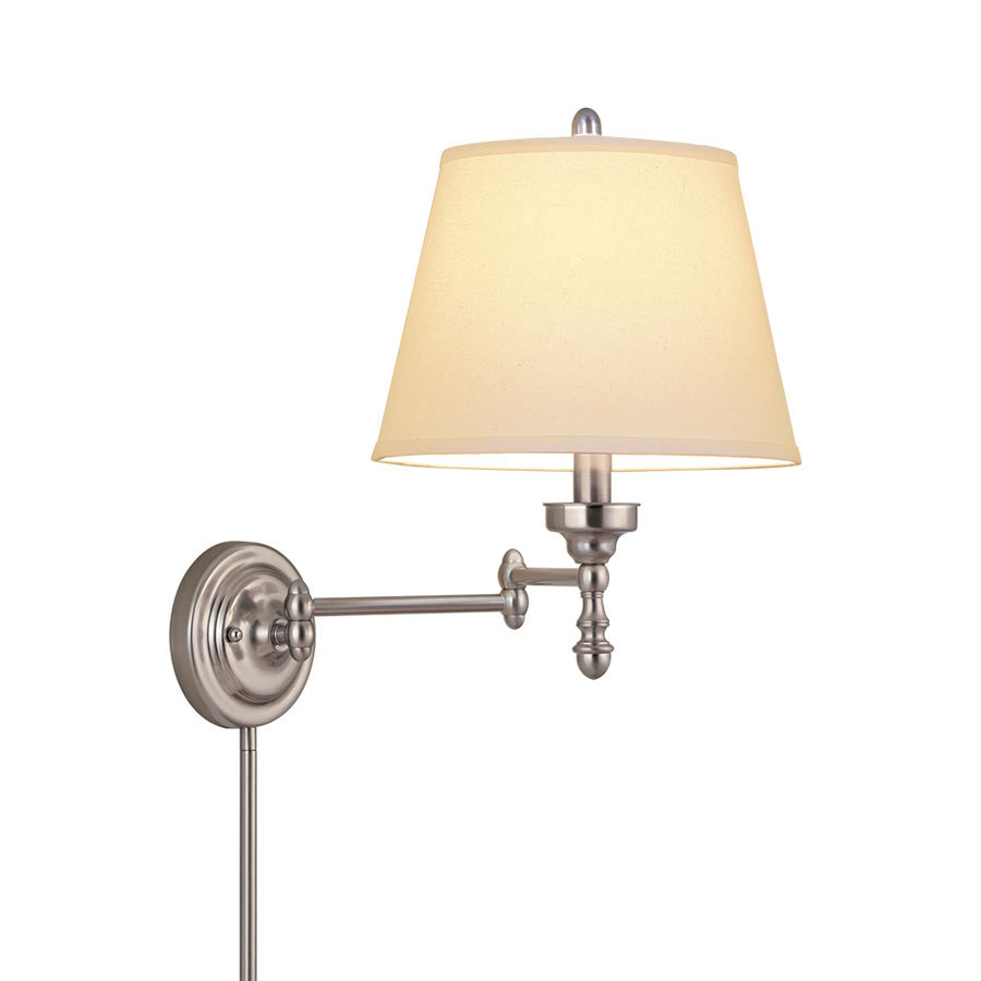 Wall Lamps For Pictures : Shop allen + roth 15.62-in H Brushed Nickel Swing-Arm Wall-Mounted Lamp with Fabric Shade at ...