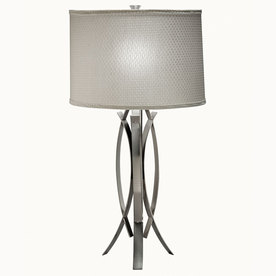 Westwood Collection 26-1/2-in 3-Way Brushed Nickel Indoor Table Lamp with White Fabric Shade