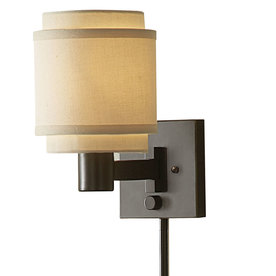 Shop allen + roth 10.12-in H Oil-Rubbed Bronze Swing-Arm Wall-Mounted Lamp with Fabric Shade at ...