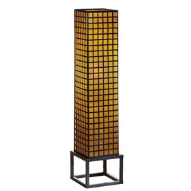 allen + roth 36-in Mixed Material Outdoor Floor Lamp with Cream Shade