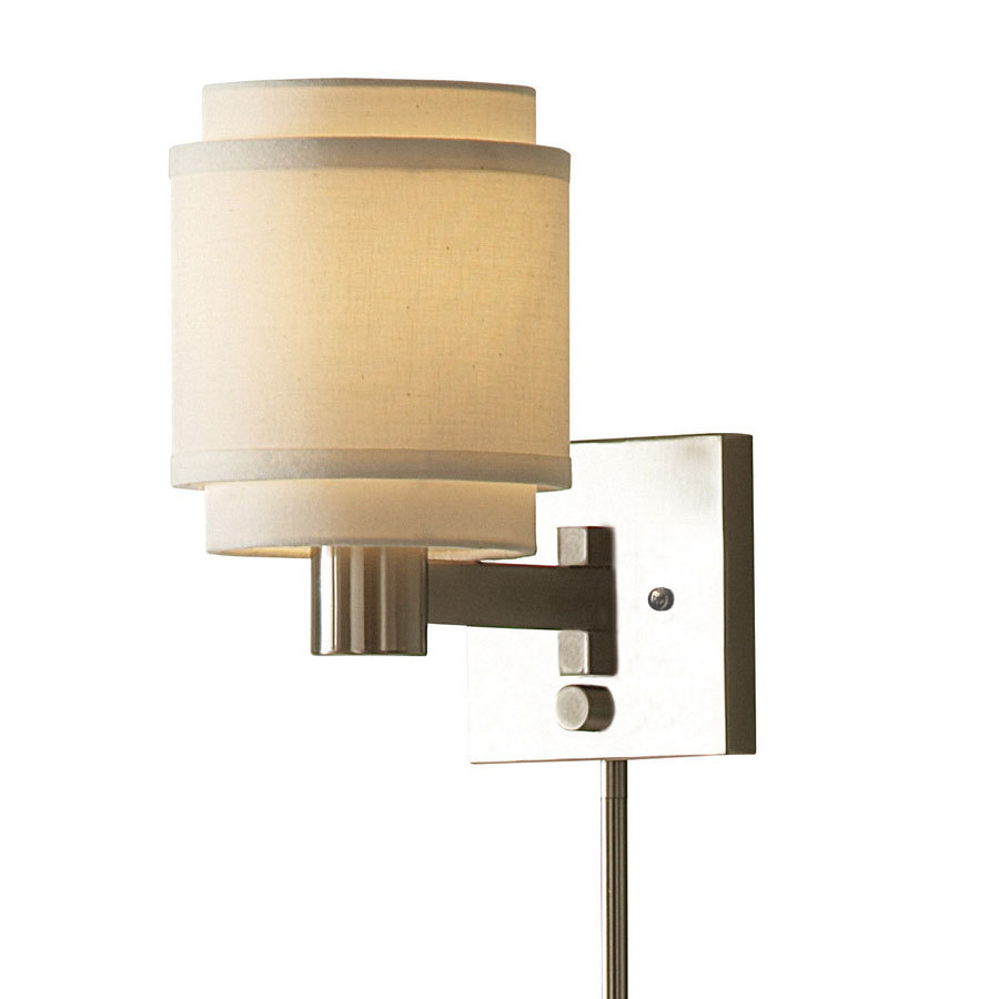 Wall Lamps At Lowes : Shop allen + roth 10.12-in H Brushed Nickel Swing-Arm Wall-Mounted Lamp with Fabric Shade at ...