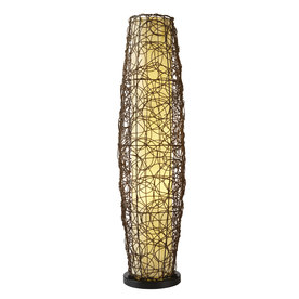 allen + roth 52-in Mixed Material Outdoor Floor Lamp with Cocoa Shade