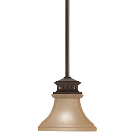 allen + roth 6-1/2-in W Aztec Tannery Bronze Mini Pendant Light with Frosted Shade