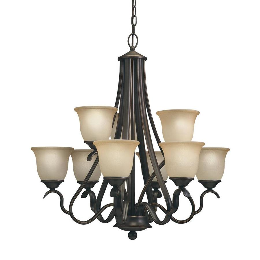 marina 9 light black bronze with red standard chandelier at