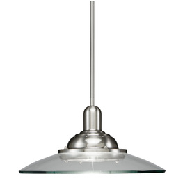 allen + roth 18-1/2-in W Galileo Brushed Nickel Pendant Light with Clear Shade