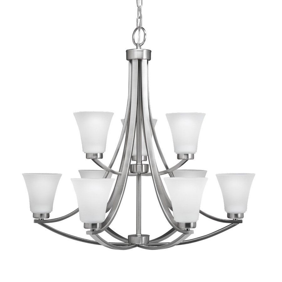 shop portfolio lyndsay 9 light brushed nickel chandelier at. Black Bedroom Furniture Sets. Home Design Ideas