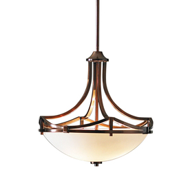 allen + roth 17.75-in W Light Oil-Rubbed Bronze Pendant Light with Frosted Glass Shade