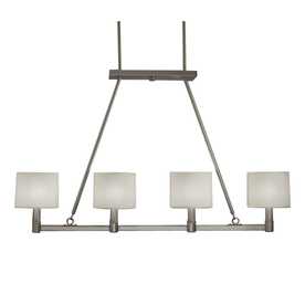 Portfolio 4-Light Brushed Nickel Island Light with Fabric Shade