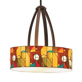 allen + roth Drakeston 20-in Mission Bronze Tiffany-Style Single Stained Glass Pendant