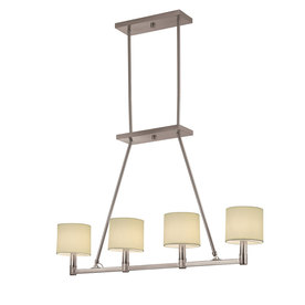 Portfolio 39-1/8-in W Aztec 4-Light Brushed Nickel Island Light with Fabric Shade