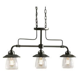 allen + roth Edison 36-in 3-Light Mission Bronze Island Light
