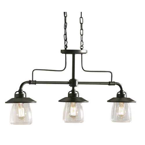 roth 3 light mission bronze edison style island light with clear shade. Black Bedroom Furniture Sets. Home Design Ideas
