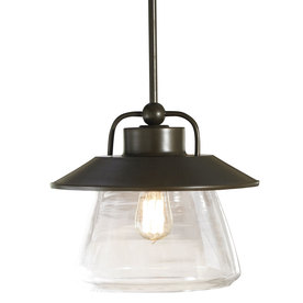 allen + roth 12-in W Edison Style Mission Bronze Pendant Light with Clear Shade