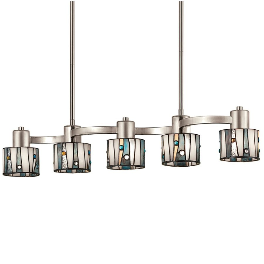 Shop Portfolio 32 In W 5 Light Brushed Nickel Kitchen Island Light With Tiffany Style Shade At
