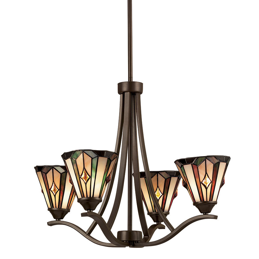 portfolio 4 light mission bronze tiffany style chandelier at. Black Bedroom Furniture Sets. Home Design Ideas
