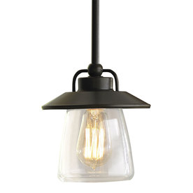 allen + roth 6-7/8-in W Edison Style Mission Bronze Mini Pendant Light with Clear Shade
