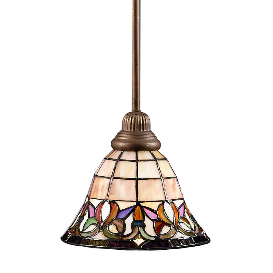 bronze mini pendant light with tiffany style glass shade at. Black Bedroom Furniture Sets. Home Design Ideas