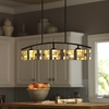 allen + roth Green Stone 38-in W 3-Light Bronze Kitchen Island Light with Tiffany-Style Shade