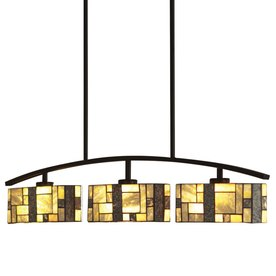 allen + roth 38-in W Green Stone 3-Light Black Island Light with Tiffany-Style Shade