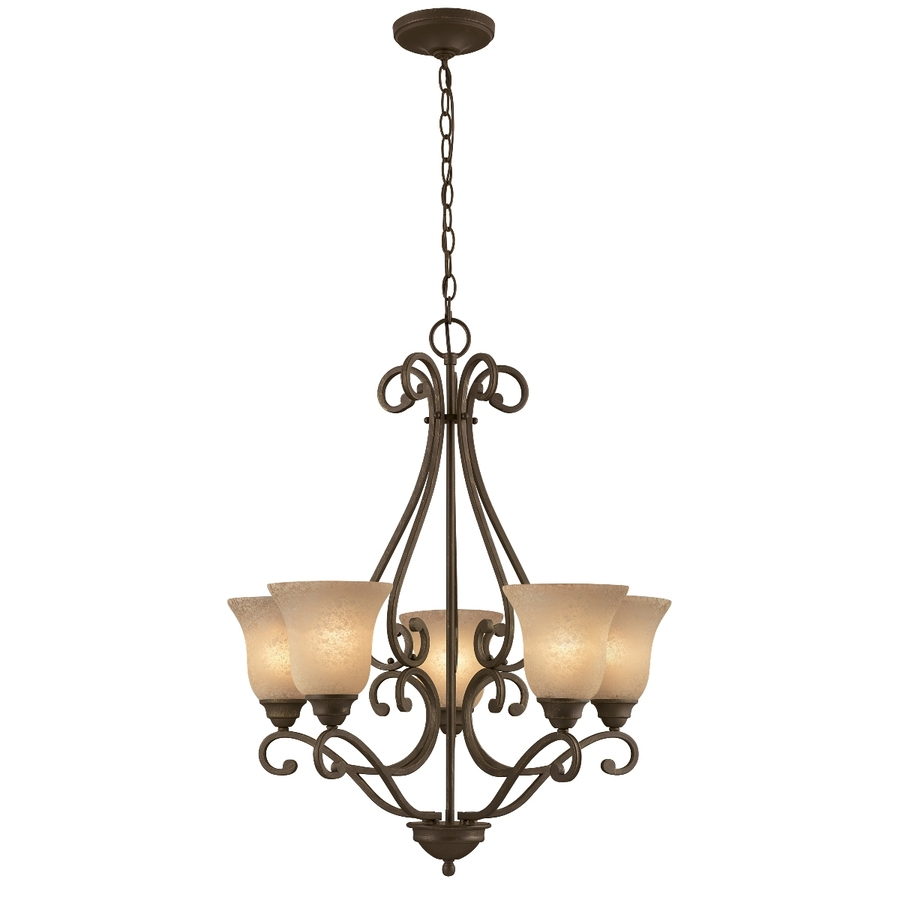 shop portfolio linkhorn 5 light iron stone chandelier at