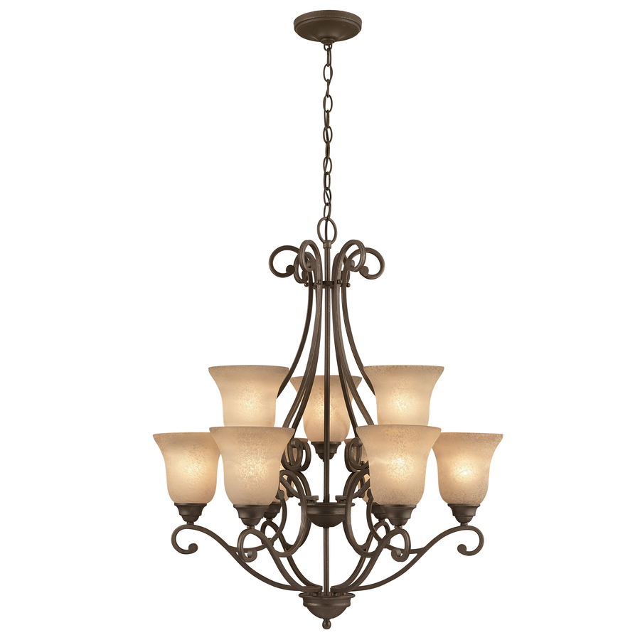 shop portfolio linkhorn 9 light iron stone chandelier at