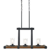 Kichler Lighting Barrington 32.01-in W 3-Light Distressed Black and Wood Kitchen Island Light with Clear Shade