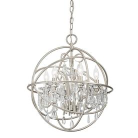 Display product reviews for Vivian 19.02-in 6-Light Brushed Nickel Clear  Glass Globe