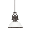 Portfolio 12.2-in W Aged Bronze Pendant Light with Frosted Shade