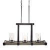 Kichler Lighting Barrington 32.01-in W 3-Light Anvil Iron with Driftwood Kitchen Island Light with Clear Shade