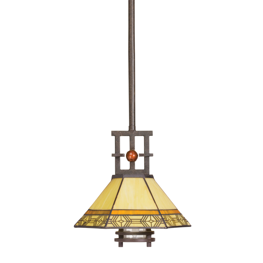 Shop Portfolio Indio 9 In W Olde Bronze Mini Pendant Light With Tiffany Style