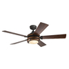 Kichler Lighting Barrington 52-in Distressed Black and Wood Downrod or Close Mount Indoor Ceiling Fan with Light Kit and Remote
