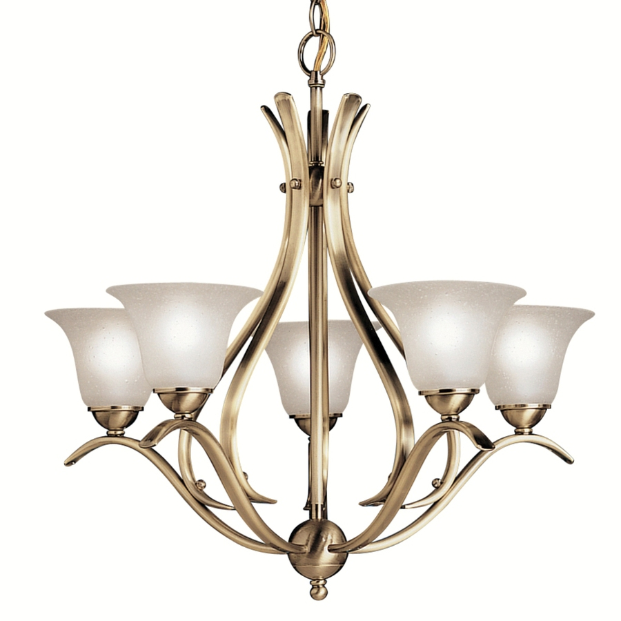 shop portfolio dover 5 light antique brass chandelier at