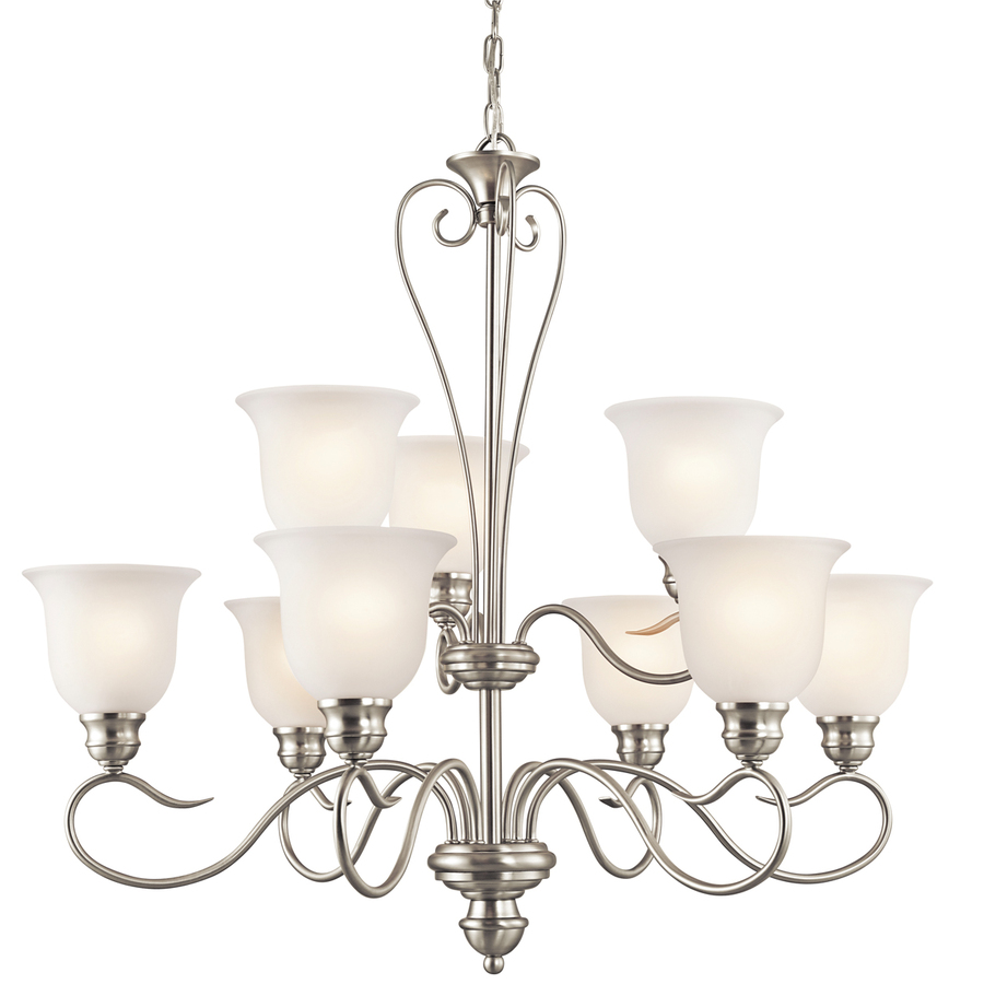 shop portfolio 9 light brushed nickel chandelier at